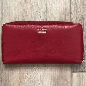 Kate Spade Red Pebble Leather Wallet
